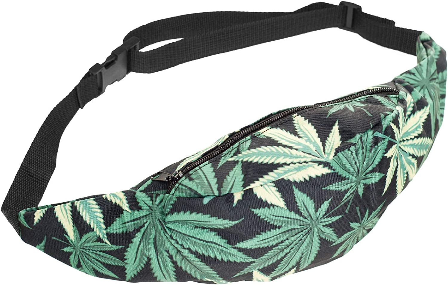 Heard Me Unisex Addicted Cannabis Weed Leaf Fanny Pack Waist Bag Phone Holder Adjustable Running Belt For Cycling,Hiking,Gym