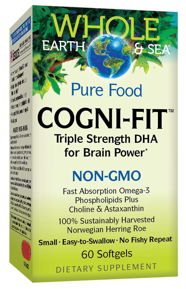 Whole Earth & Sea from Natural Factors, Cogni-Fit Triple Strength DHA, Omega-3 Fish Oil Supplement, Non-GMO and Gluten Free, 60 softgels (30 Servings) by Natural Factors