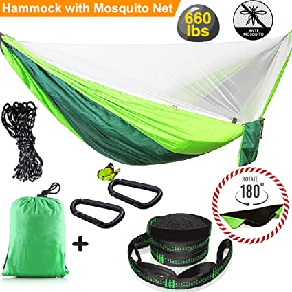 Amazon.com : Yardom Camping Hammock with Mosquito Net Double & Single Lightweight Nylon Portable Hammock with Tree Straps Reversible Swing Survival Outdoor ...