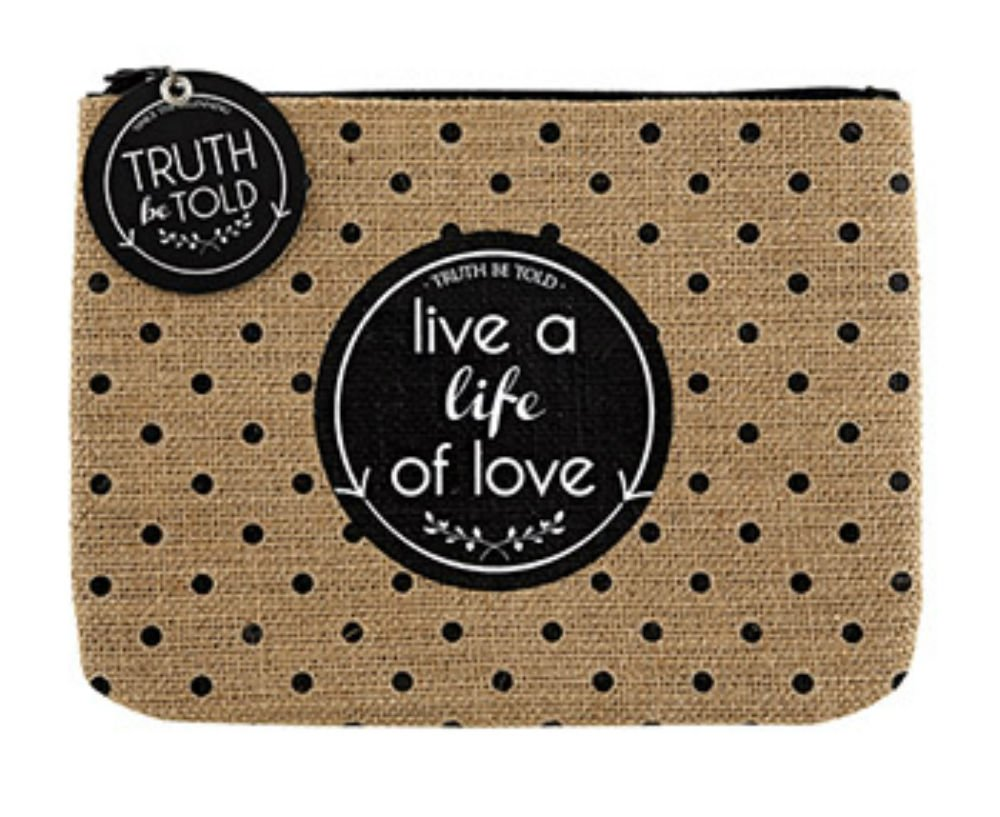 Set of 4 Live A Life of Love Burlap Zipper Pouch by AT001 (Image #1)