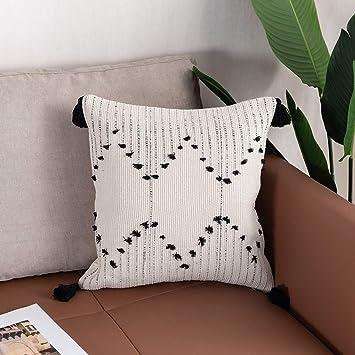 Amazon.com: Ojia - Funda de almohada lumbar en blanco y ...