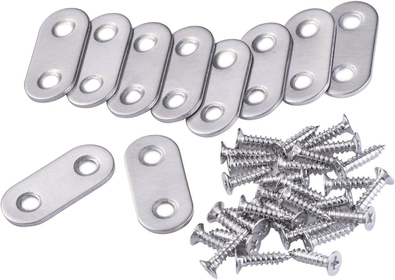 SODIAL (R) 10 pcs soporte de brazo recto Metal placa recta y 20 ...