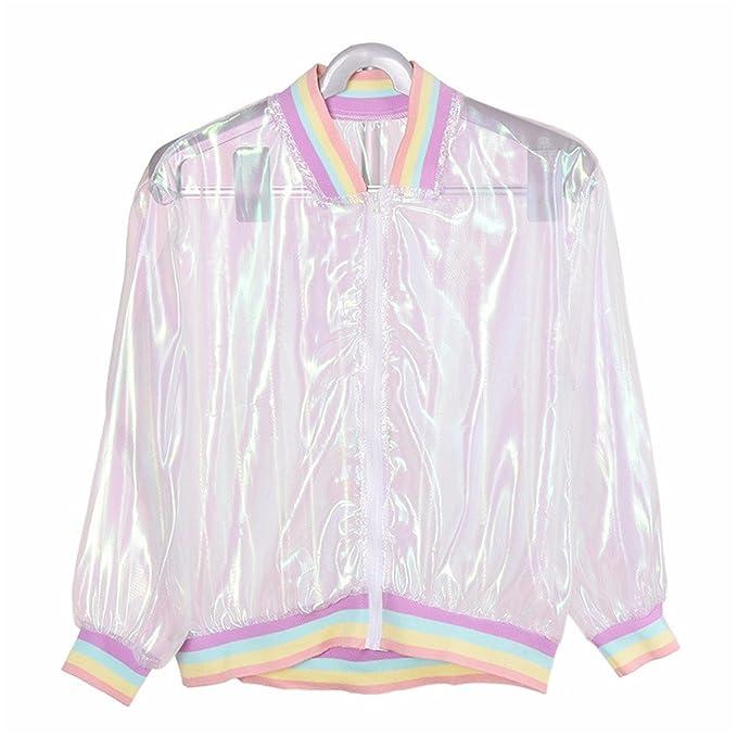0e2eaae54 Amazon.com: Mandaartins Women Jacket Laser Rainbow Coat Transparent ...