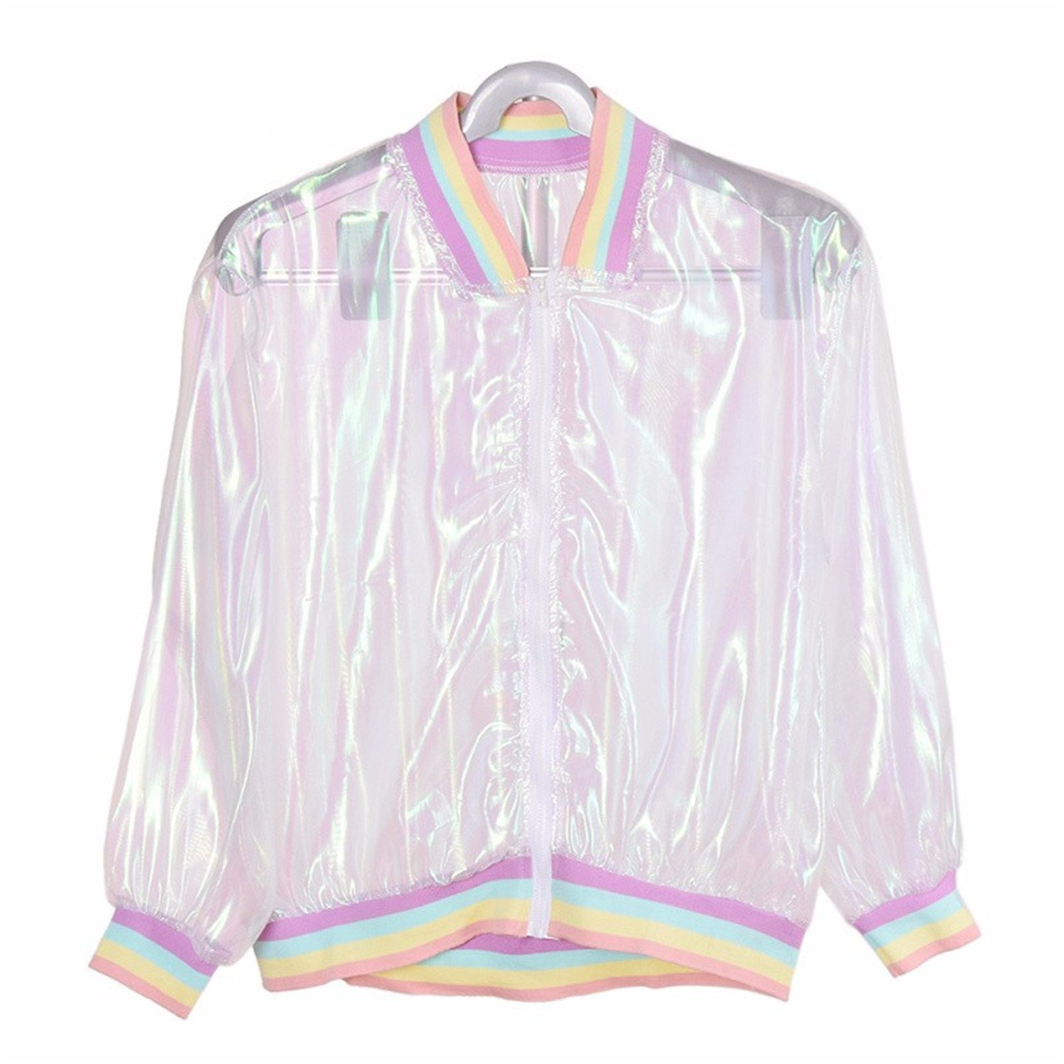 Mandaartins Women Jacket Laser Rainbow Coat Transparent Bomber Jacket Sunproof
