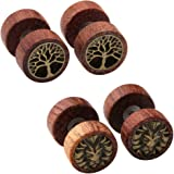 Zysta 2-4 Pairs Wooden Stud Earring Vintage Stainless Steel Fake Ear Gauge 10MM Earrings Ear Plugs Lion Piercings Hypoallergenic Screw