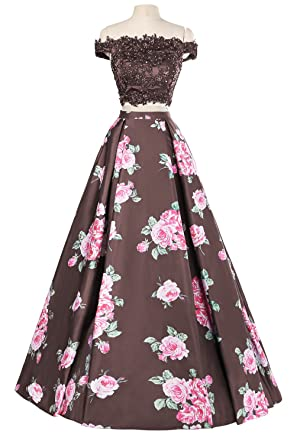 Amazon.com: Oyeahbridal Floral Two Piece Prom Dress Off Shoulder Lace Long Evening Dresses Formal: Clothing