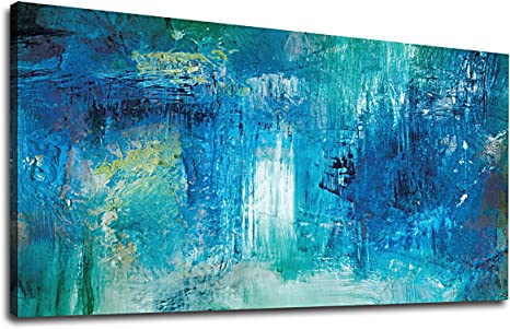 Amazon Com Yearainn Abstract Wall Art For Living Room Large Size Canvas Wall Decor Modern Wall Art Abstract Painting Picture Prints Bedroom Office Home Decor Blue Canvas Artwork 20 X 40 Posters
