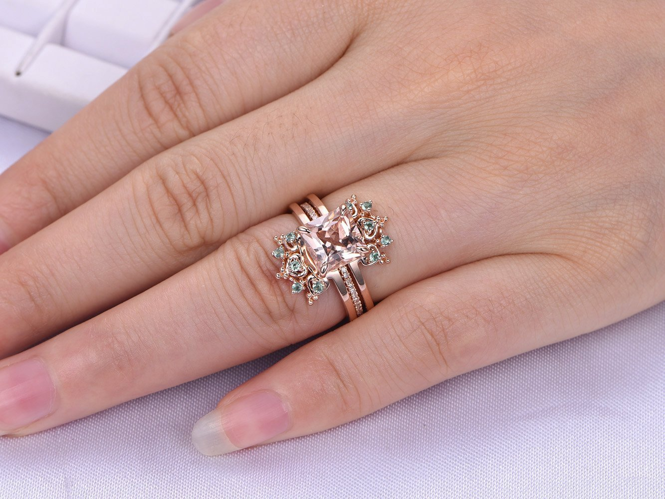 Amazon.com: Princess Morganite Engagement Ring Set Alexandrite Tiara ...