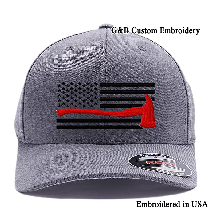 b850f8ed Amazon.com: Thin Red Line Axe USA Flag. Embroidered. 6477 Flexfit ...