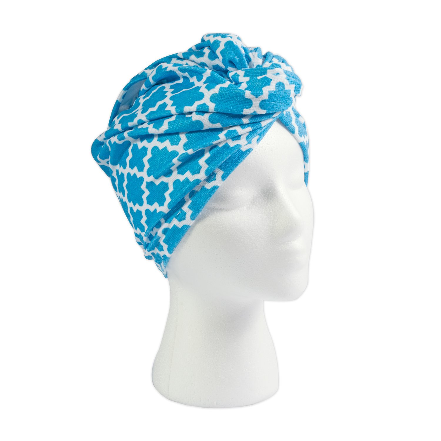 DII Women's Printed Microfiber Shower Hair Wrap, Twist Turban, Hair Towel, Machine Washable, Perfect for College Dorm, Pools, Gyms, Beaches, Locker Rooms, Bathroom, Set of 3, Dahlia Aqua CAMZ37049