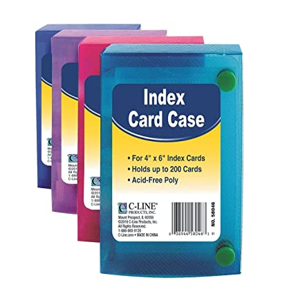 C-Line 58046 Index Card Case, Holds 200 4 x 6 Cards, Polypropylene, 1  Assorted Color
