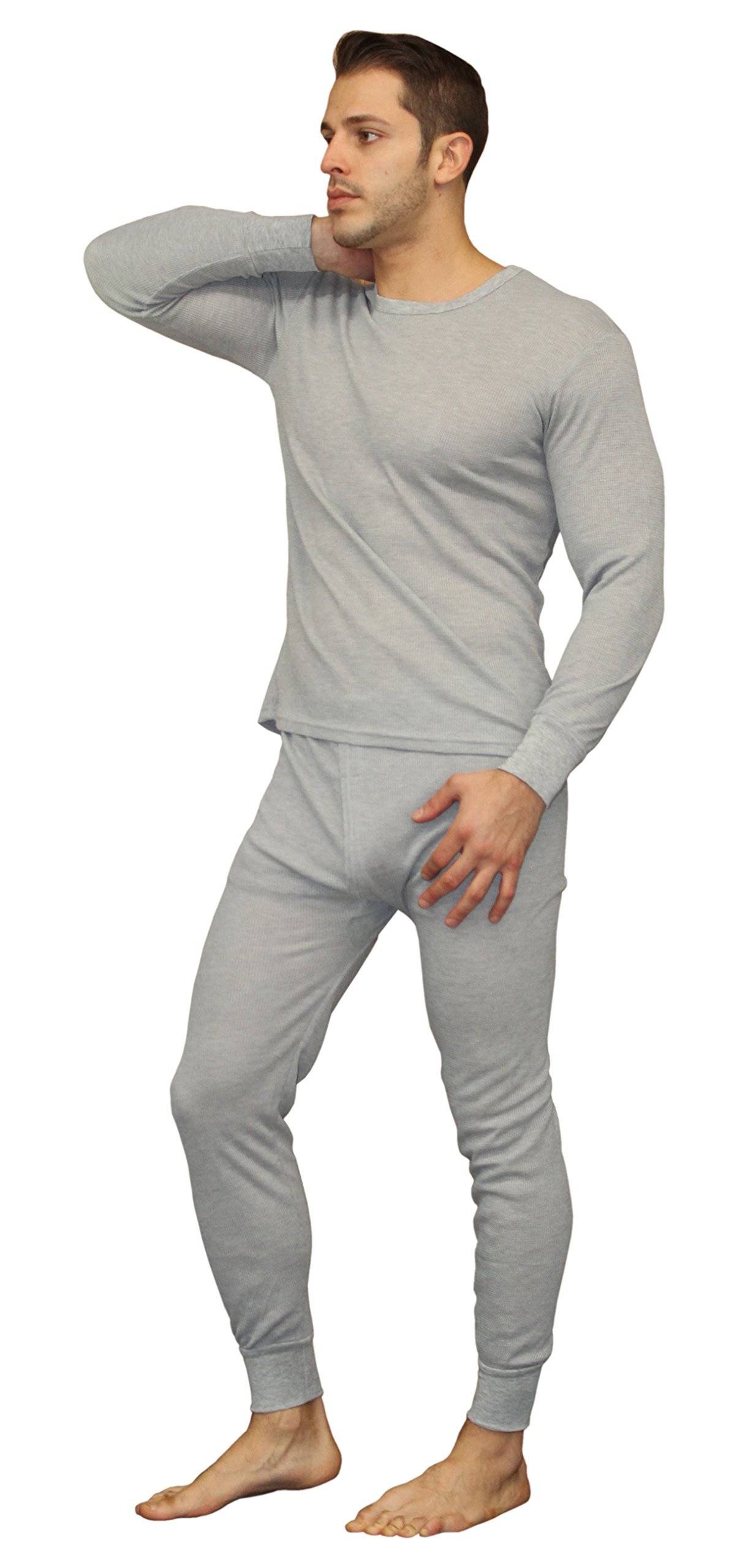 Men's Soft 100% Cotton Thermal Underwear Long Johns Sets - Waffle - Fleece Lined (X-Large, Fleece Lined - Heather Grey)