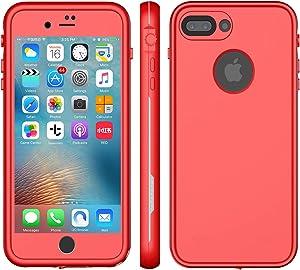 """XLF iPhone 8 Plus Waterproof CASE (Red & Gray (iPhone 7/8 Plus 5.5"""")) ¡"""