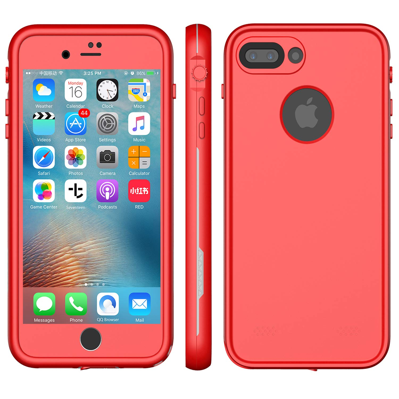 sale retailer 87b87 dda13 XLF iPhone 8 Plus Waterproof CASE (Red & Gray (iPhone 7/8 Plus 5.5