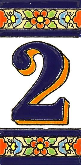 """Image ofART ESCUDELLERS Números casa. Numeros y Letras en azulejo Ceramica policromada, Pintados a Mano técnica Cuerda Seca. Nombres y direcciones. Diseño Flores Mediano 10,9 cm x 5,4 cm. (Numero Dos 2"""")"""