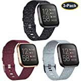 KIMILAR 3-Pack Bands Compatible with Fitbit Versa/Versa 2/Versa Lite Edition, Large Small Soft Woven Fabric Breathable Accessories Strap Wristband Women Men Compatible Versa Smart Watch