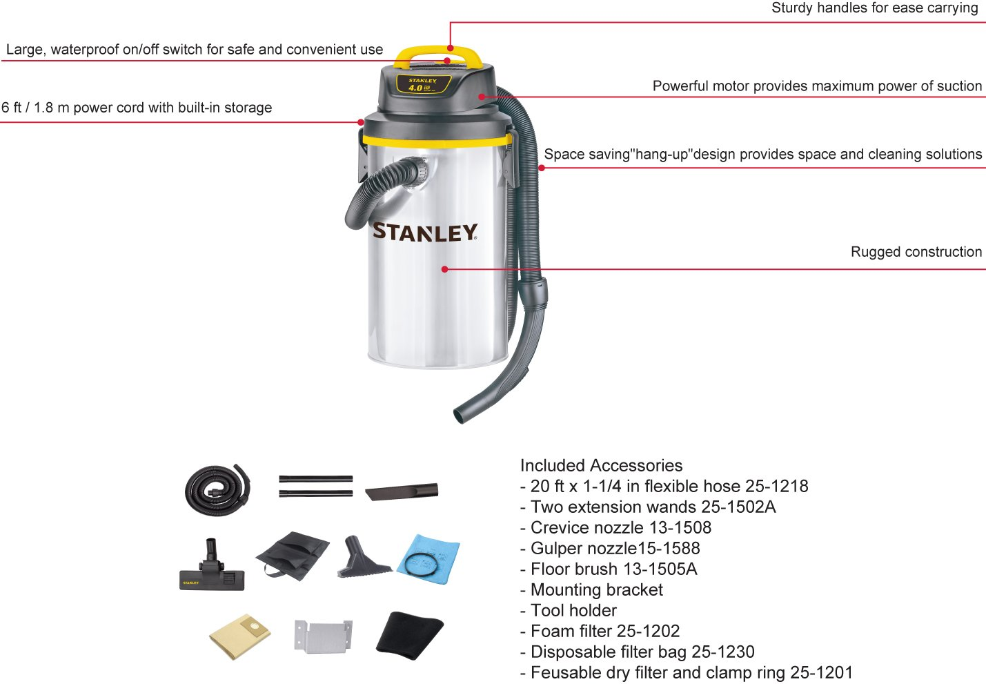Stanley Wet Dry Hanging Vacuum, 4.5 Gallon, 4 Horsepower, Stainless Steel Tank