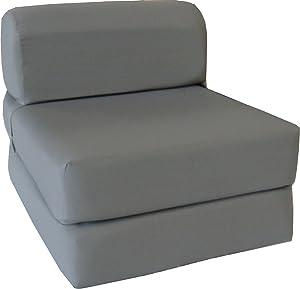 D&D Futon Furniture Chair Folding Foam Bed, Foam Density 1.8 lbs, Folded Sofa Mattress, 6 x 24 x 70, Gray