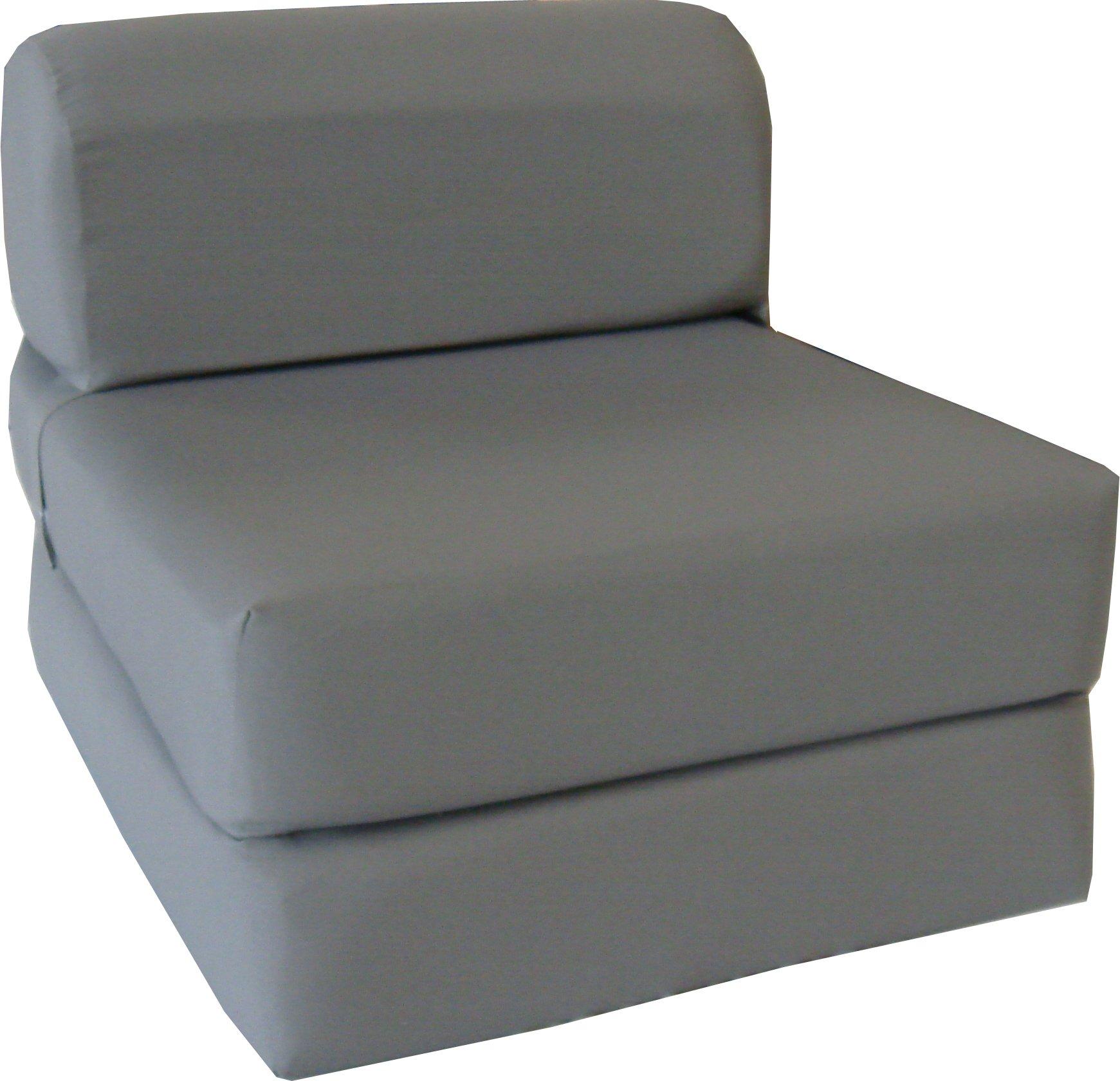Chair Folding Foam Bed, Studio Sofa Guest Folded Foam Mattress (6'' x 32'' x 70'', Gray) by D&D Futon Furniture.