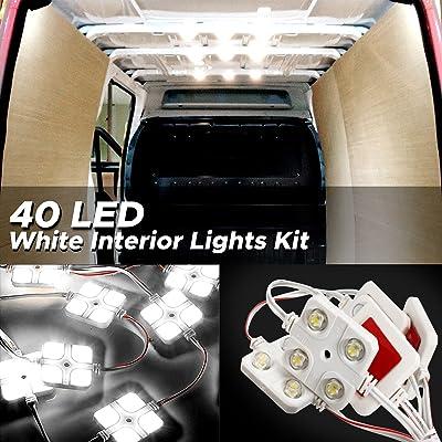 AUDEW 40 Led White Interior Lights Kit,12V LED Ceiling Lights Kit For LWB Van Trailer Lorries Sprinter Ducato Transit Boats VW: Automotive