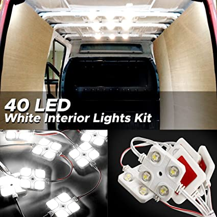 Pleasant Amazon Com Audew 40 Led White Interior Lights Kit 12V Led Ceiling Wiring 101 Bdelwellnesstrialsorg