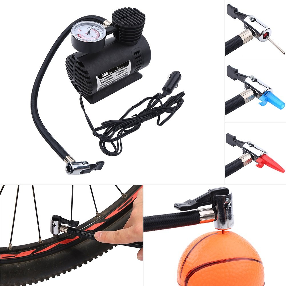 Soccer Electric Tires Motorcycles etc Tricycles Portable Mini Air Compressor Electric Tire Infaltor Pump 12 Volt Car 300 PSI for Bicycles Basketball Mini Air Compressor Cars
