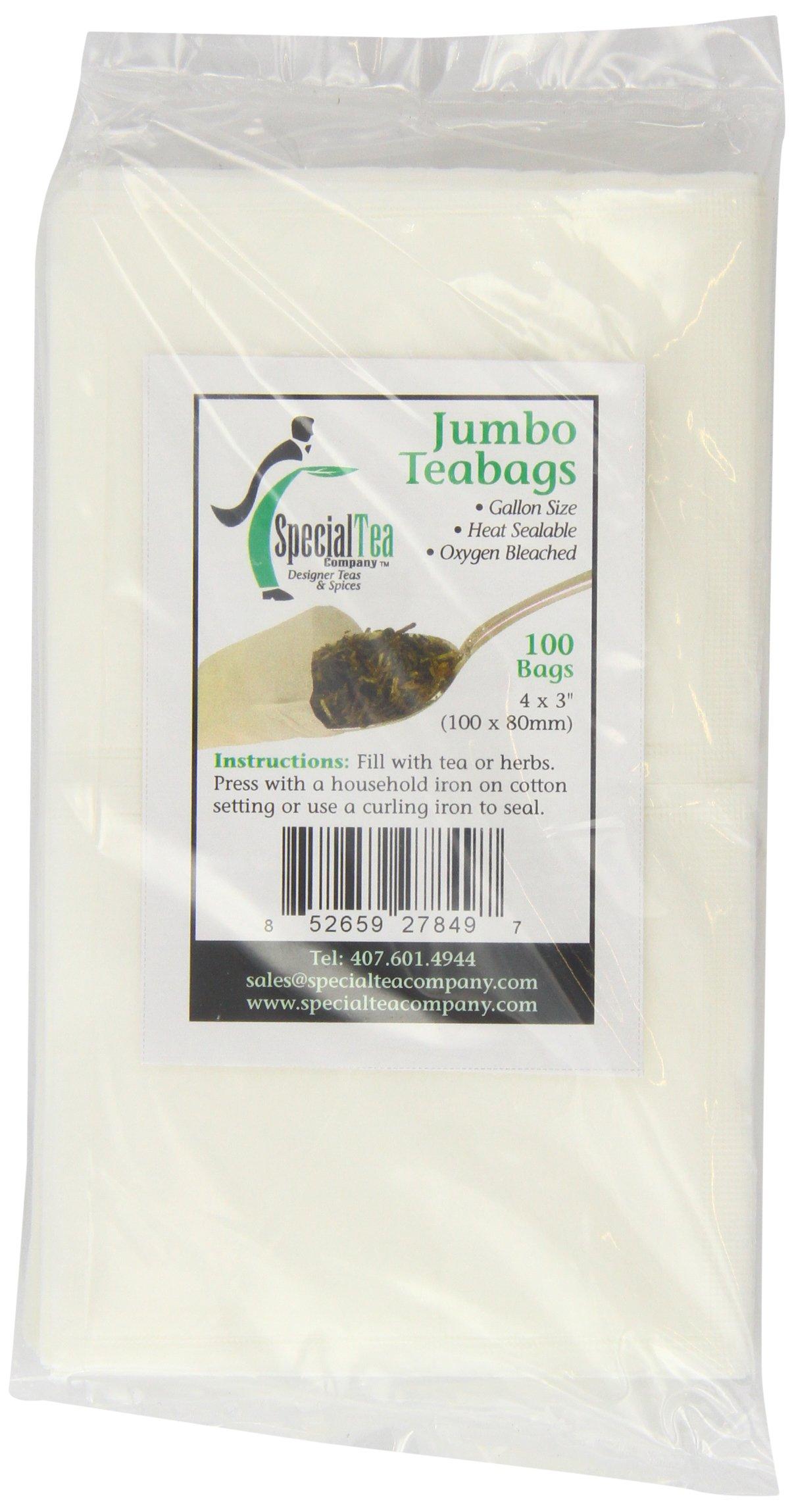 Special Tea Company 4 by 3-Inch 100-Piece Empty Tea/Herb Bags, Jumbo