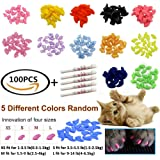 JOYJULY 100pcs(5 sets) Soft Pet Cat Nail Caps Claws Control Paws Of 5 Different Colors Soft Claws+ 5 Adhesive Glue