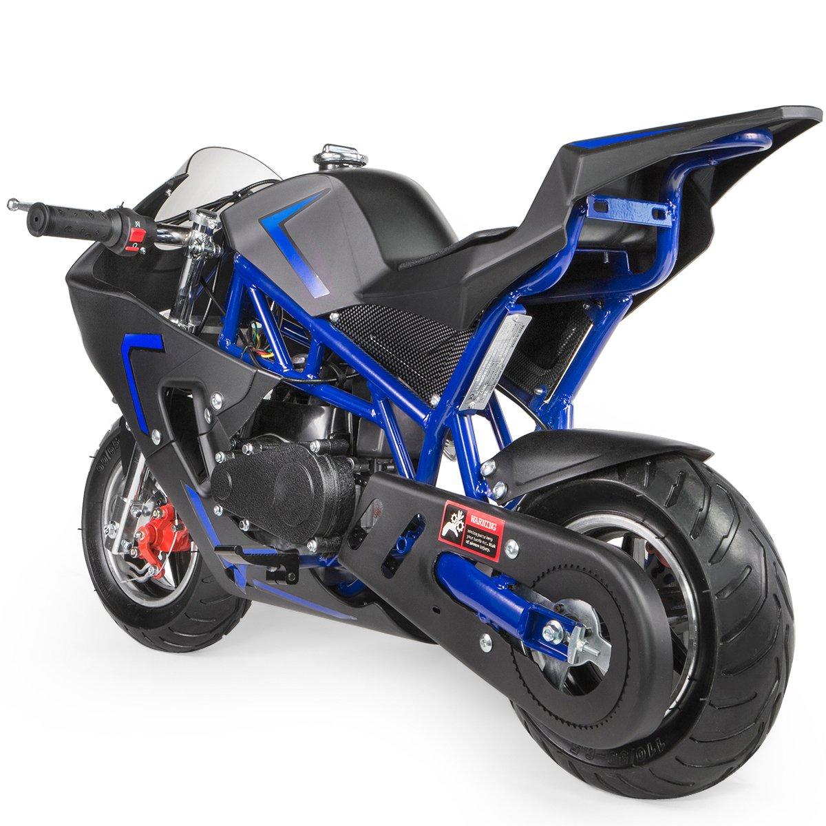 Xtremepowerus 40cc 4 Stroke Gas Power Mini Pocket 49cc 2 Bike Wiring Diagram Motorcycle Ride On Blue Toys Games