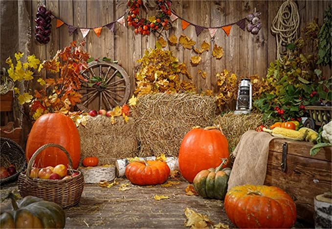 Wofawofa Happy Thanksgiving Day Backdrop 7X5FT Vinyl Rural Farmland Pumpkins House Backdrops Straw Hay Bale Fall Halloween Photography Background for Greeting Autumn Harvest Photo Studio Props YB05