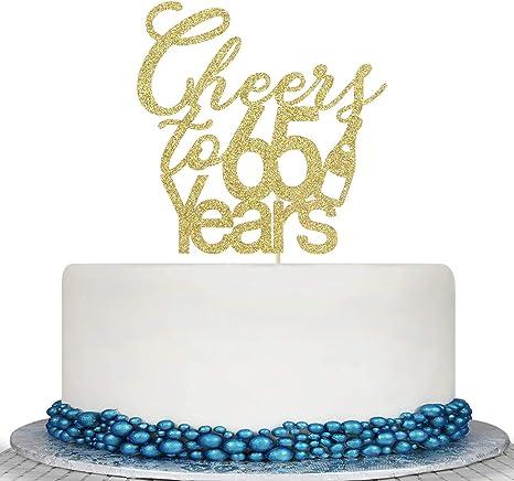 Fantastic Amazon Com Glitter Cheers To 65 Years Cake Topper 65Th Birthday Funny Birthday Cards Online Inifodamsfinfo