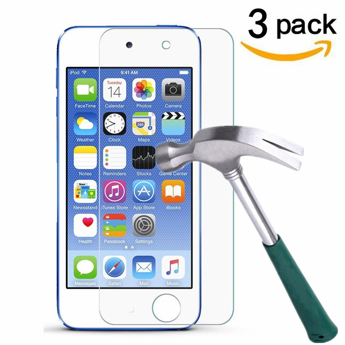 iPod touch (6th Gen, 2015 Released),TANTEK [Bubble-Free][HD-Clear][Anti-Scratch][Anti-Glare][Anti-Fingerprint] Tempered Glass Screen Protector for iPod Touch 6G & 5G, [3Pack] yutytitu