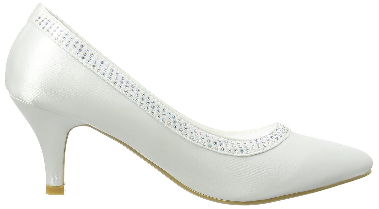 Diamante Trim Wedding Court - Zapatos Punta Cerrada de Satén para Mujeres, Color Blanco, Talla 37 Spot On