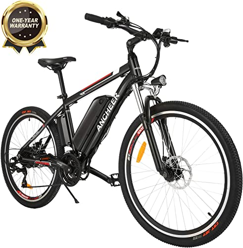ANCHEER 2019 Pro Electric Mountain Bike, 26 Electric Bicycle with Removable 12.5AH Lithium-Ion Battery for Adults, 500W Hub Motor and 21 Speed Shifter