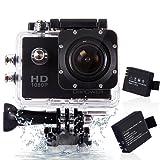 DBPOWER ウェアラブルカメラ 12MP 1080P フルHD 1200万画素 170度広角レンズ 30M防水 バイク/自転車/車などに取り付け可能 19個のアクセサリー付け ブラック