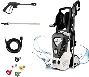 DREAMVAN 3500 PSI Max 2.6 GPM Electric Pressure Washer, 1800 W High Power Washer with 5 Nozzles, Hose Reel, 32ft Cable, Detergent Tank, Spray Gun, Ideal for Car, Garden, Home, Driveways