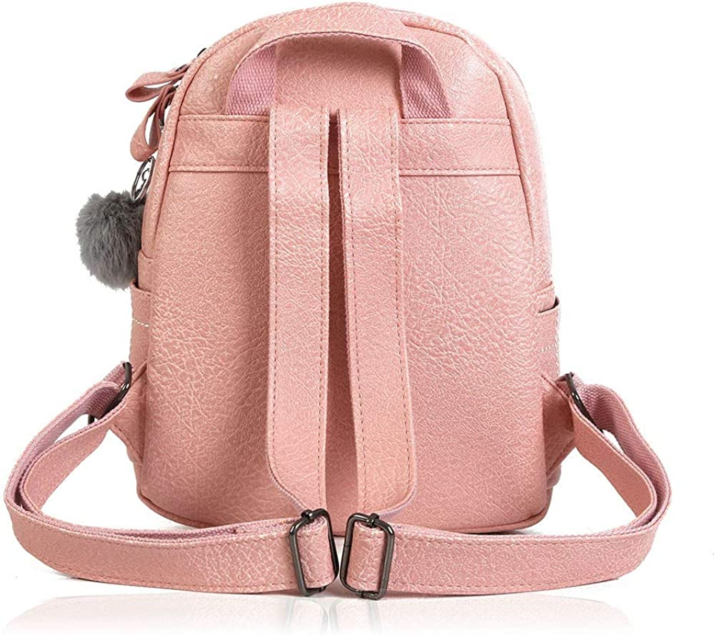 Doublelift Women Casual Leather Backpack With Plush Ball Pendant Travel Small Mini Bag