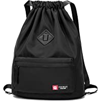 WANDF Drawstring Backpack Sackpack Water Repellent Gymbag for Shopping Sport Yoga