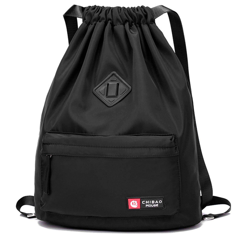 WANDF Drawstring Backpack Sackpack Water Repellent Gymbag for Shopping Sport Yoga, Black US-WF17011107B