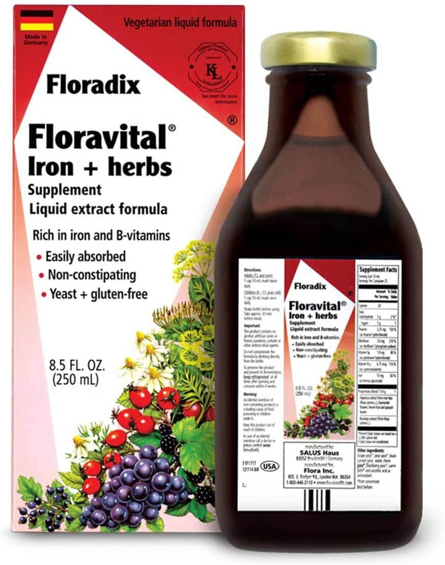 Floravital Liquid Iron Supplement + Herbs 8.5 Ounce - Vegan, Non GMO & Gluten Free - Non Constipating, Yeast Free for Men & Women