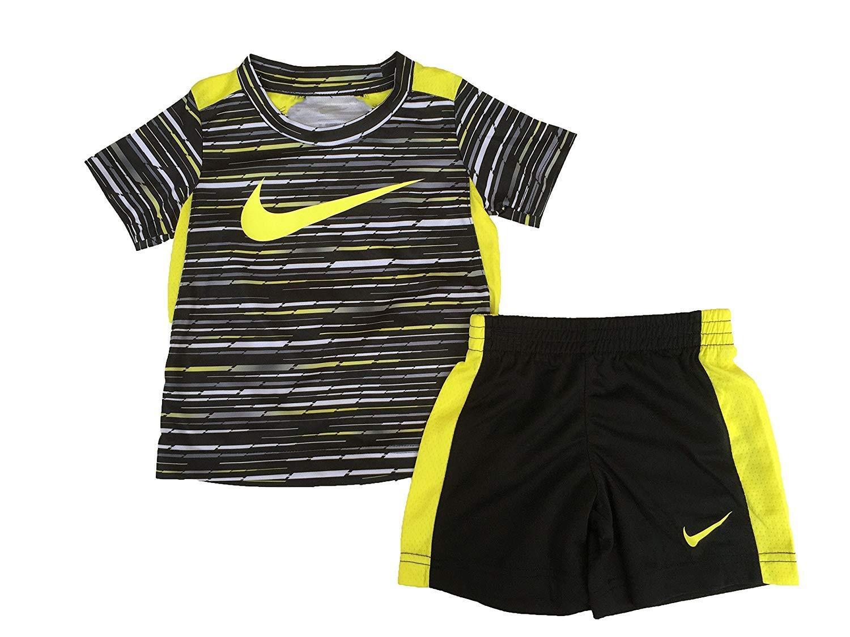 NIKE Toddler Boys' Dri Fit Short Sleeve T-Shirt and Short 2 Piece Set (Electrolime (76C026-E5A)/Black/Black, 2T)