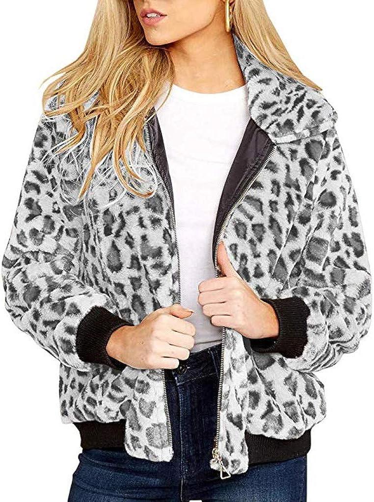 Ularma Womens Fall Sherpa Jackets Leopard Jacket Plus Size Fleece Faux Fur Coat Winter Warm Army Jacke Coats For Teens