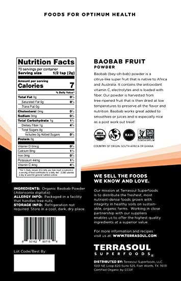 Amazon.com : Terrasoul Superfoods Organic Baobab Fruit Powder, 12 Ounces : Grocery & Gourmet Food