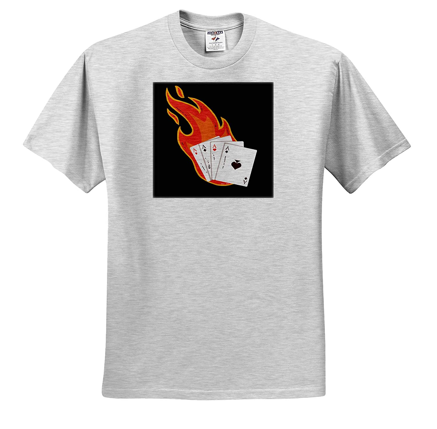 Adult T-Shirt XL 3dRose Sven Herkenrath Sport ts/_316078 Poker Cards for Casino with Fire Play