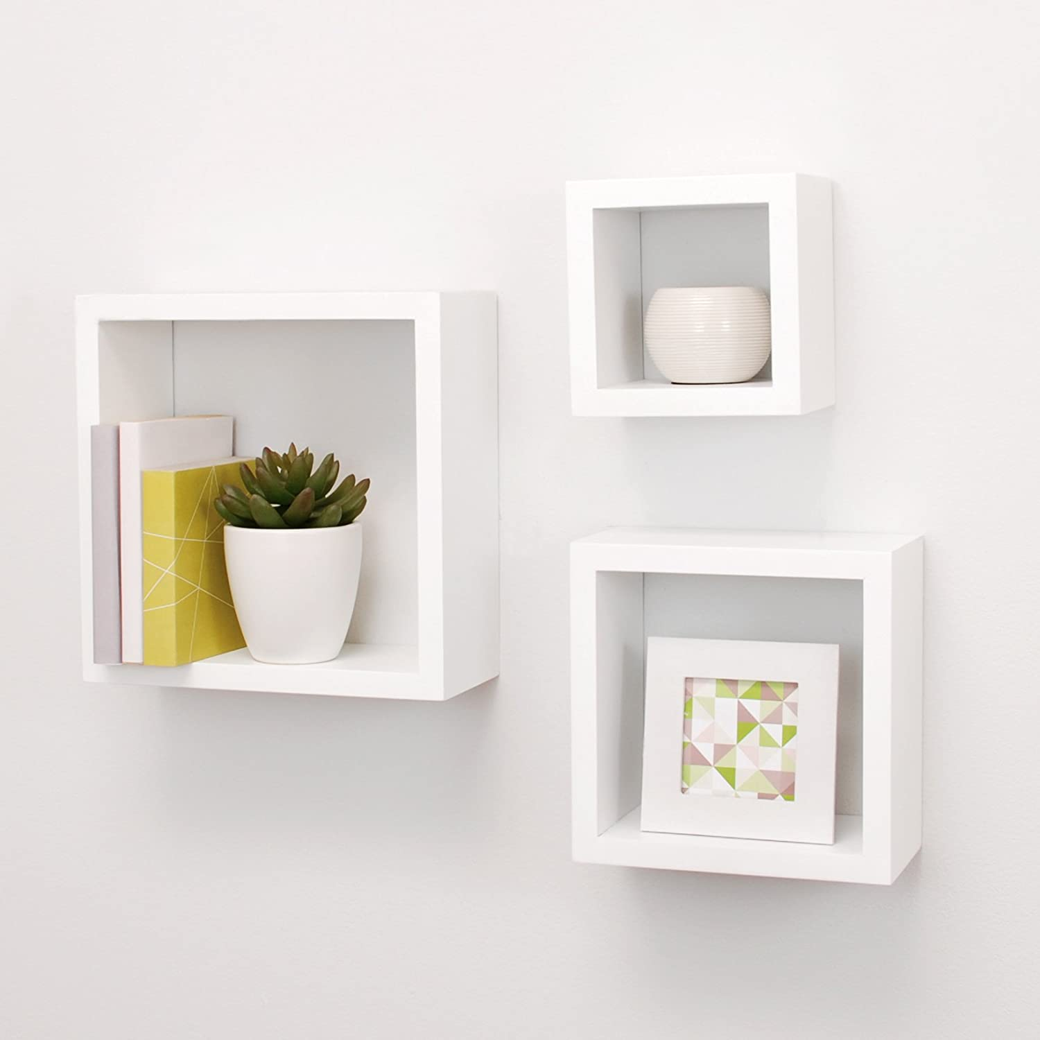 Amazon.com: Nexxt Cubbi Contemporary Floating Wall Shelves 5 by 5 inch, 7  by 7 inch 9 by 9 inch White Set of 3: Home & Kitchen