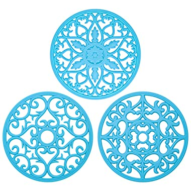 Bligli Silicone Pot Holder Mats Hot Pads Spoon Rest, Multipurpose Trivet Durable Dishwasher Safe Heat Resistant for Hot Dishes Food Grade Silicone Set of 3 (Blue)
