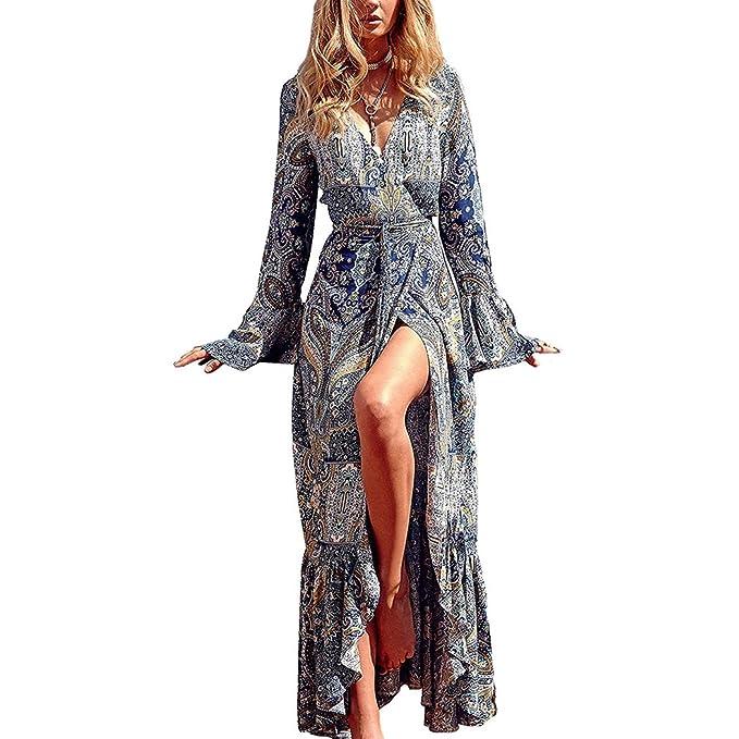 Vestido de Mujer,Lananas Escote en V Vacaciones en la Playa Boho Bohemio
