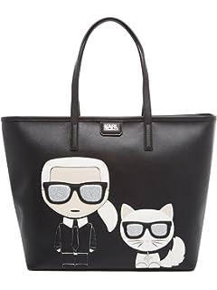 Shopper Karl Lagerfeld Ikonik in pelle nera con grafica Karl Lagerfeld