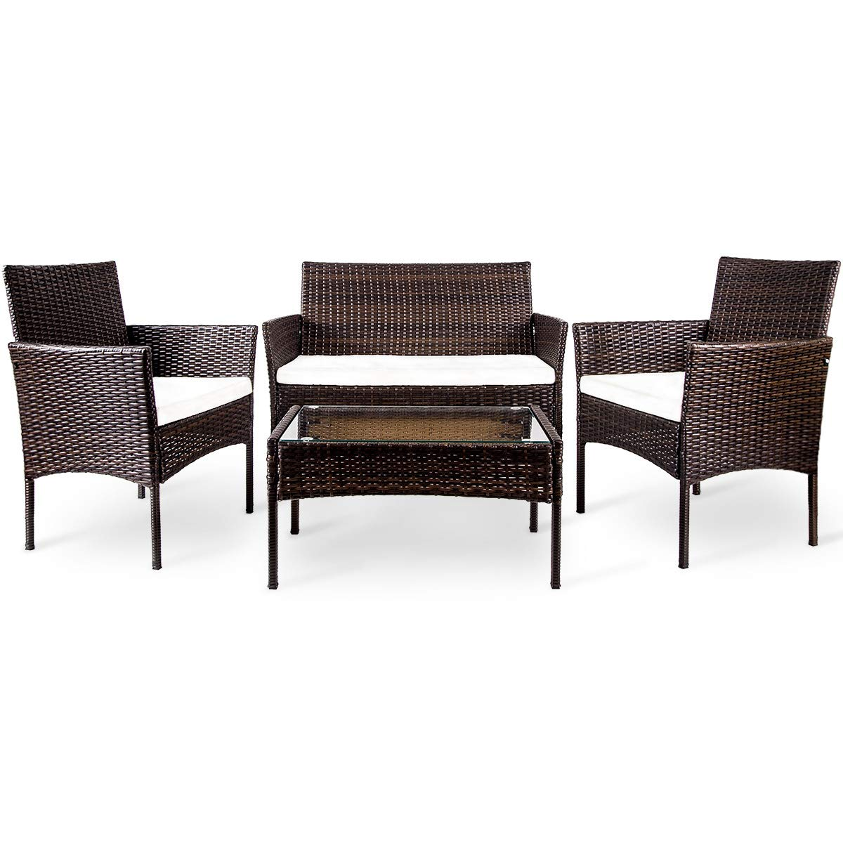 LZ LEISURE ZONE. 4 PC Rattan Chair Patio Furniture Set Garden Backyard Wicker Set Outdoor with Weather Resistant Cushions Wicker Sofa (Brown)