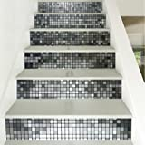 yazi Silver Mosaic Tile Backsplash Tile Stair Stickers DIY Tile Decals Waterproof Peel and Stick Home Decor StairCase Decal Stair Mural Decals 7''W x 39''L (Set of 6)